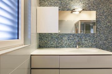 modern bathroom , detail, close up sink and mirror