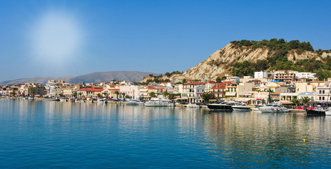 Panoramic view of the town and port of Zakynthos, Greece. Zante
