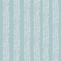 Seamless blue pattern with floral stripes