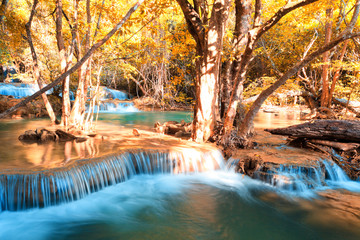 Autumn theme waterfall in Kanchanaburi, Thailand