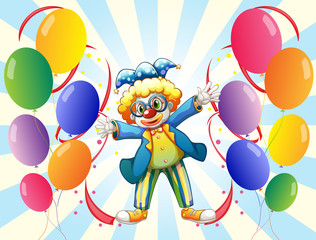 The twelve balloons and the male clown