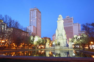Monument to Cervantes at night