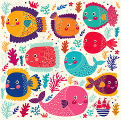 Vector set with colorful funny fishes