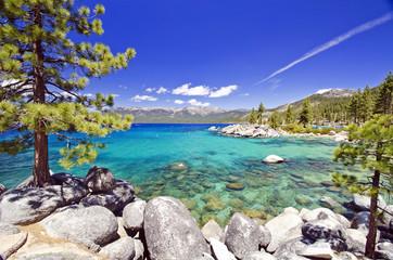 Piękna jeziorna tahoe plaża