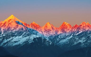 sunset on Mountain Peaks