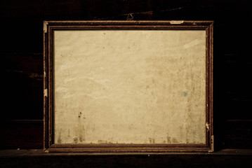grunge paper with wood frame