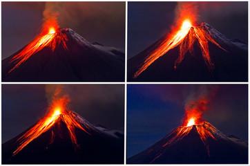 Tungurahua Volcano eruption collage