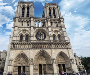 Notre Dame Cathedral with beautiful sky, Paris