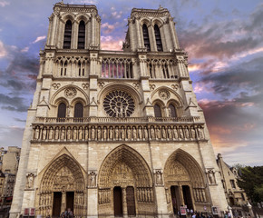 Notre Dame Cathedral with beautiful sky.