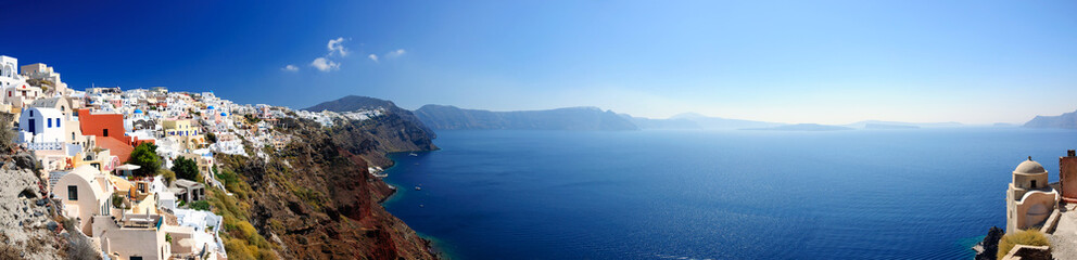 Panoramic view of Santorini village and volcanic bay, Greece