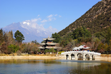 Black Dragon Pool Jade Dragon Snow Mountain in Lijiang, Yunnan,