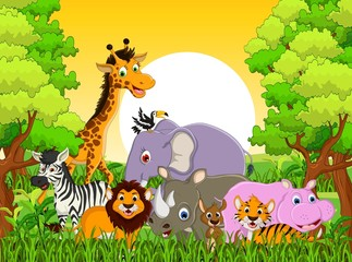 cute animal wildlife with forest background