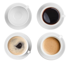 coffee cup assortment top view collection isolated
