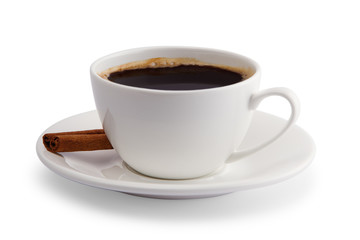 coffee with cinnamon in a white cup on a white background