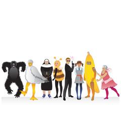 Fancy dress party people in costume