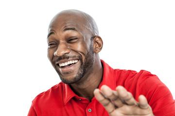 Black man laughing portrait