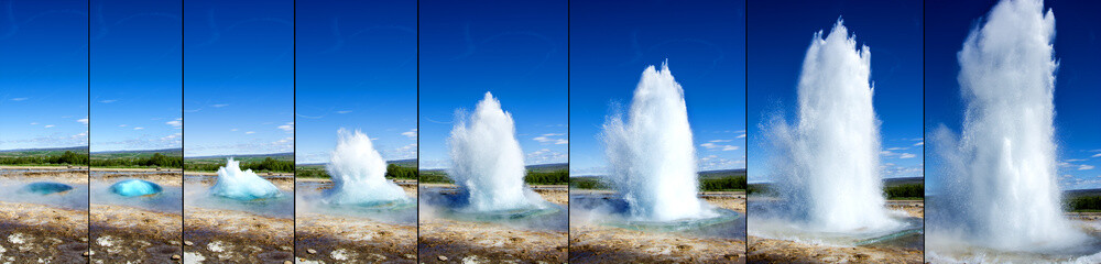 Strokkur Geyser eruption in sequence