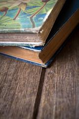 Vintage old books on wooden