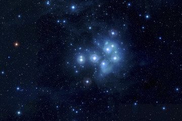 Pleiades in deep space, Elements of image furnished by NASA