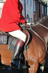 fox hunt Huntsman ready for the hunt on his horse