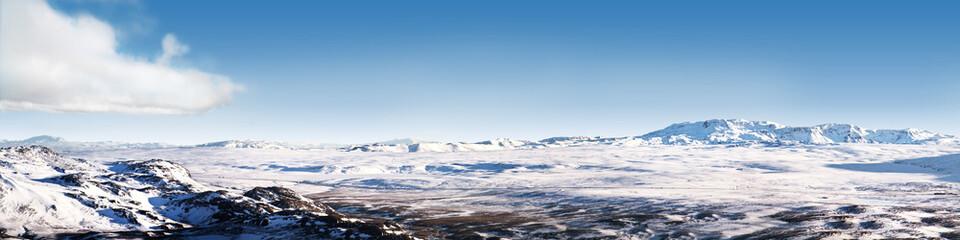 Islandzki lodowy pustynny krajobraz panorama 4x1 Stosunek