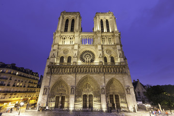 Night time view of Cathedral  Ntre Dame, france