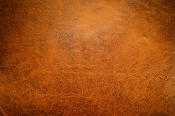 Brown leather textured background with side light.