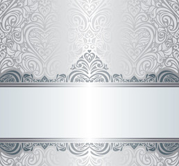 Silver luxury vintage invitation background design