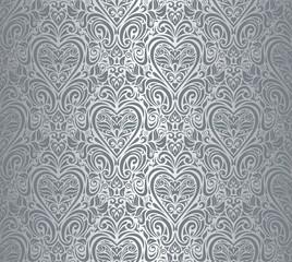 Silver luxury vintage wallpaper, damask design