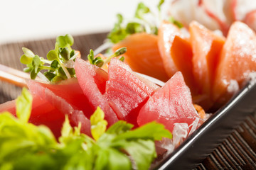 sashimi, raw fish mixed in traditional Japanese style