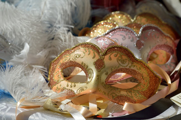 Female carnival mask with  background
