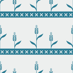 Seamless blue pattern with wheat