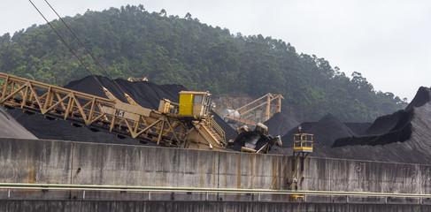huge excavator of coal in a mine