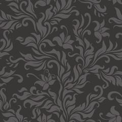 Seamless floral dark pattern. Vector illustration.