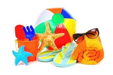 Beach accessories, towel, ball, flip-flops, sunglasses and toys