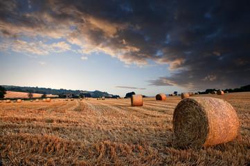 Piękny złoty godziny bele siana zmierzchu krajobraz