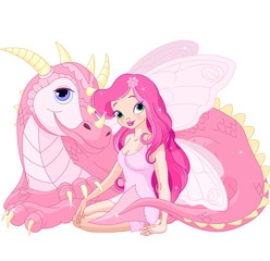 Beautiful Magic Dragon and Fairy
