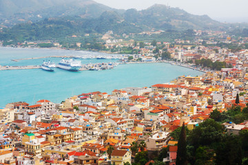 view of the city and harbor Zakynthos, Greece