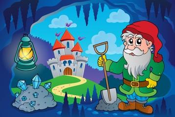 Dwarf in fairy tale cave