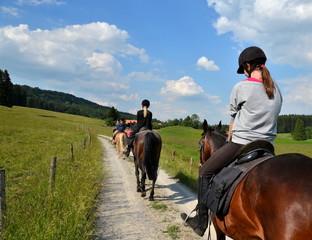 Mädchen, Ausritt, Pferde