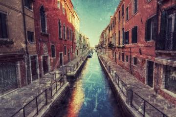 Wenecki malowniczy kanał styl retro