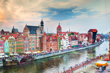 Top view on Gdansk old town and Motlawa river, Poland.