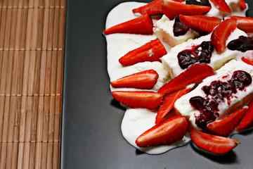 Fresh strawberry ice cream dessert