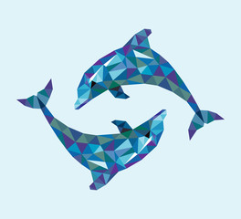 Dolphin triangle low polygon style