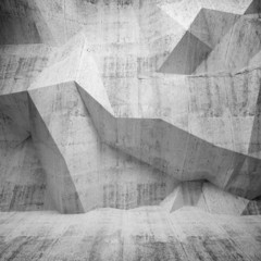 Abstract concrete 3d interior with polygonal pattern on the wall