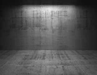 Abstract dark concrete 3d interior with light spot on the wall
