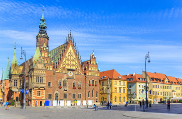 Town Hall, Old Town Market in Wroclaw, Poland