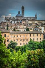 Blick auf Duomo Santa Maria Siena Toskana Italien