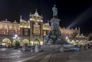 Monument of Adam Mickiewicz in Krakow, Poland