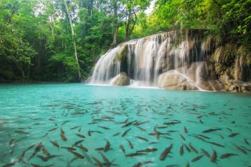 Level two of Erawan Waterfall in Kanchanaburi Province, Thailand